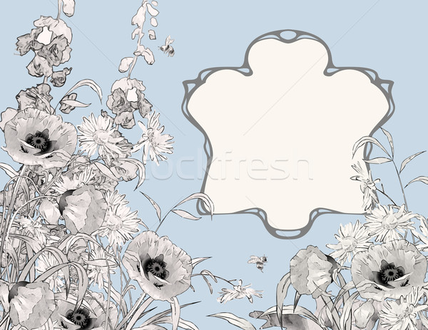 Photo stock: Cadre · botanique · vecteur · croquis · jardin