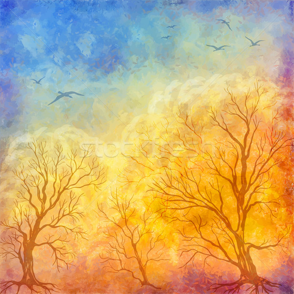 Vector oil painting autumn trees, flying birds Stock photo © kostins