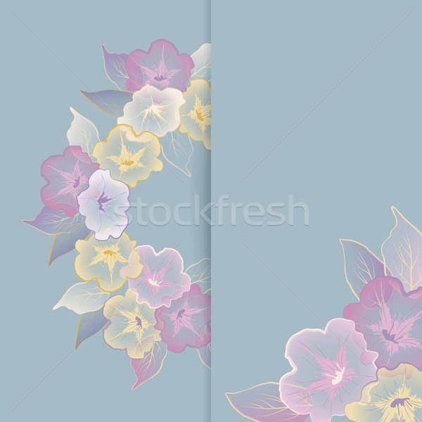 Virágmintás sablon üdvözlőlap pasztell virágok keret Stock fotó © kostins