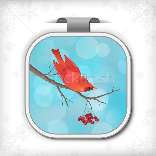 Winter Christmas Sticker Bird Rowan Tree Branch Stock photo © kostins
