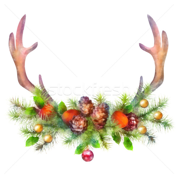 Watercolor Christmas Garland and Deer Antler Stock photo © kostins