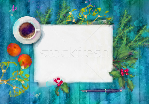Christmas Top View.Christmas Watercolor Top View Background Stock Photo