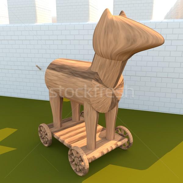 Trojan cavallo 3D città muri rendering 3d Foto d'archivio © Koufax73
