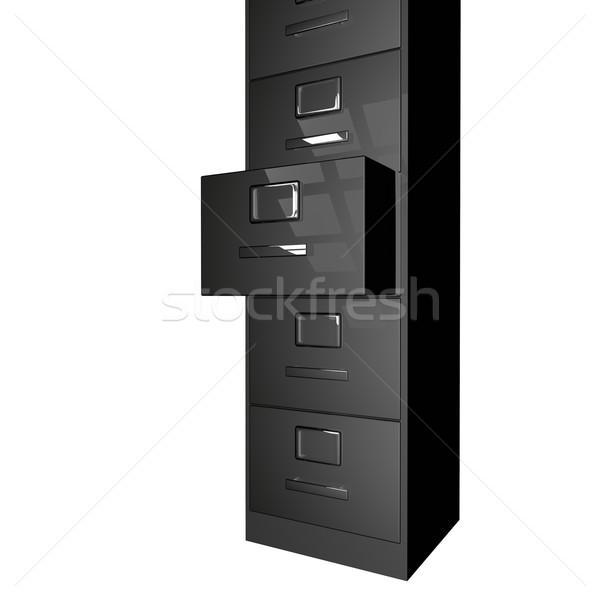 Archiwum czarny otwarte szuflada odizolowany biały Zdjęcia stock © Koufax73
