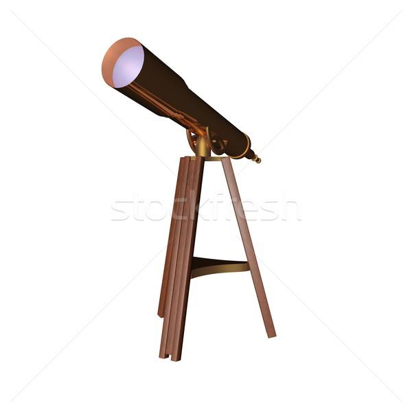 Telescoop bronzen geïsoleerd witte 3d render glas Stockfoto © Koufax73
