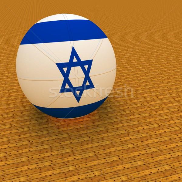 イスラエル バスケットボール フラグ 3dのレンダリング 広場 画像 ストックフォト © Koufax73