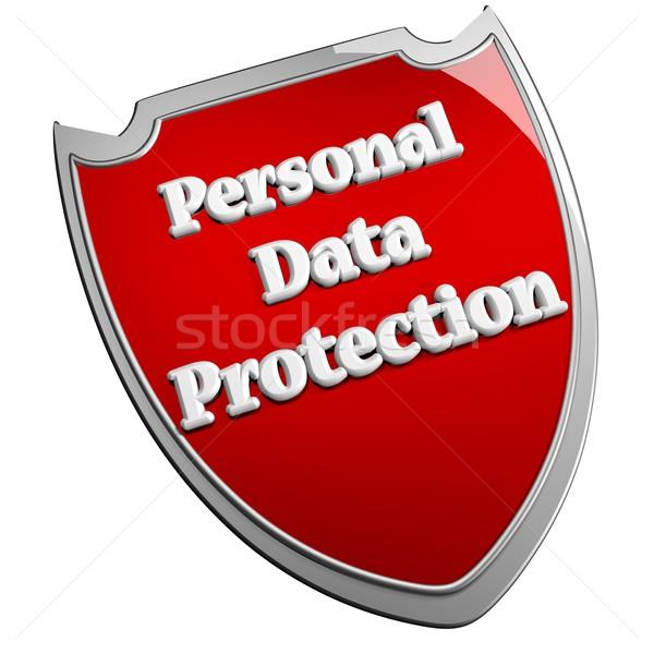 個人 データ保護 シールド 白 3dのレンダリング 広場 ストックフォト © Koufax73