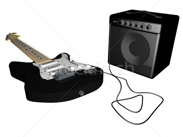 Stok fotoğraf: Gitar · amper · beyaz · 3d · render · arka · plan · konuşmacı