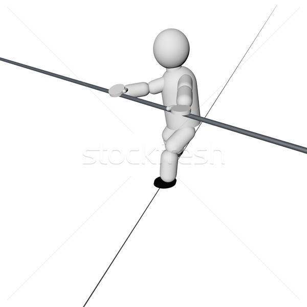 Acrobaat lopen touw geïsoleerd witte 3d render Stockfoto © Koufax73