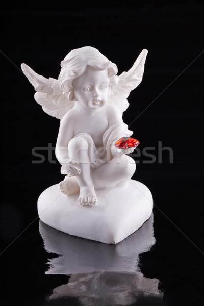 ángel pequeño estatua rojo corazón Foto stock © Koufax73