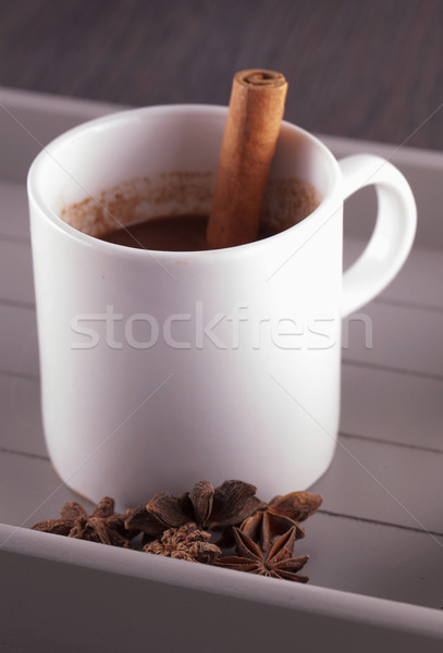 Stockfoto: Warme · chocolademelk · stick · kaneel · star · anijs · houten