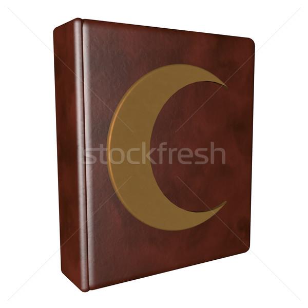 книга полумесяц кожа изолированный белый Сток-фото © Koufax73