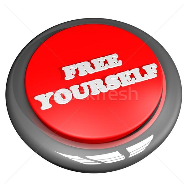 свободный себя кнопки изолированный белый 3d визуализации Сток-фото © Koufax73