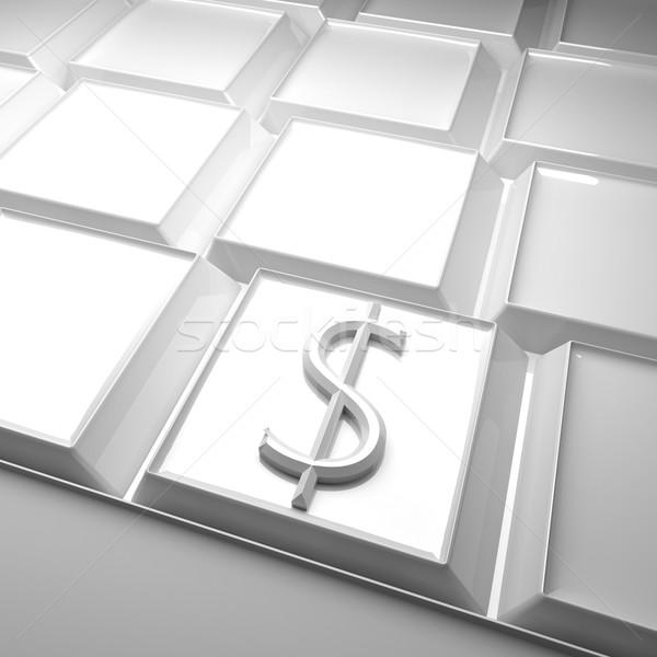 Dolar klavye simge 3d render kare görüntü Stok fotoğraf © Koufax73