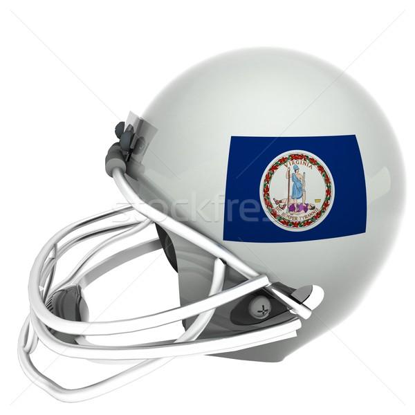 Виргиния футбола флаг шлема 3d визуализации квадратный Сток-фото © Koufax73
