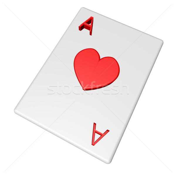 Ace coeurs carte isolé blanche rendu 3d Photo stock © Koufax73
