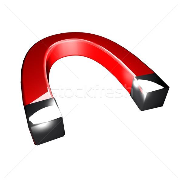 磁石 赤 孤立した 白 3dのレンダリング 金属 ストックフォト © Koufax73