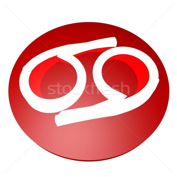 рак символ красный кнопки 3d визуализации знак Сток-фото © Koufax73