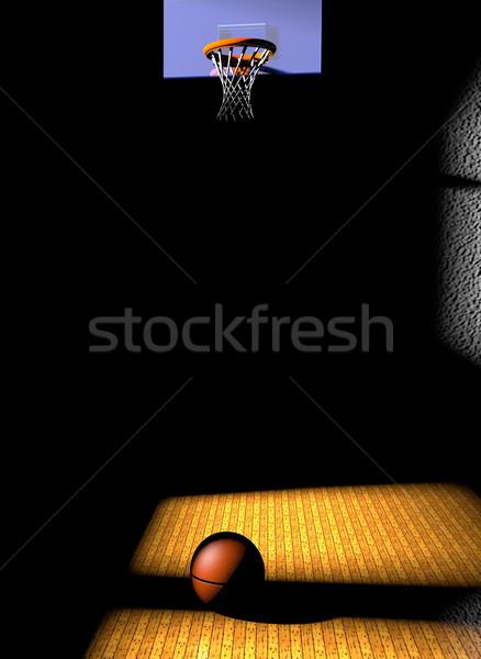 Stockfoto: Basketbalveld · half · basketbal · 3d · render · sport · achtergrond