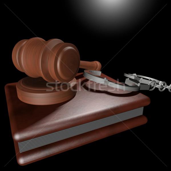Foto stock: Justiça · tribunal · gabela · livro · algemas · preto