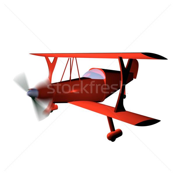 Kétfedelű repülőgép piros izolált fehér 3d render háttér Stock fotó © Koufax73