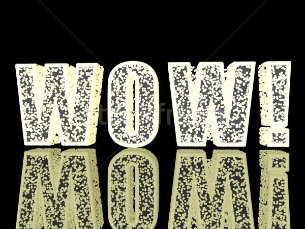 Wow parola splendente lettere nero rendering 3d Foto d'archivio © Koufax73