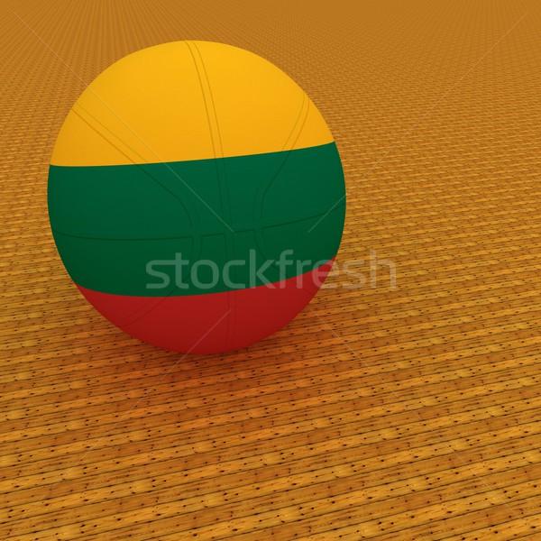 リトアニア バスケットボール フラグ 3dのレンダリング 広場 画像 ストックフォト © Koufax73