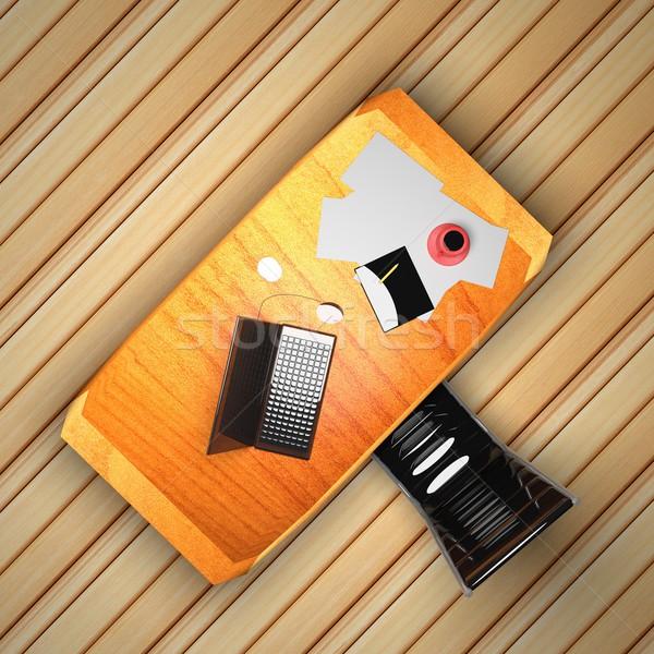 Büro tablet telefon dizüstü bilgisayar üzerinde 3d render Stok fotoğraf © Koufax73