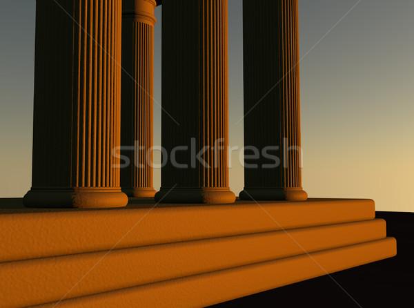 Stock fotó: Templom · oszlopok · naplemente · fény · 3d · render · terv