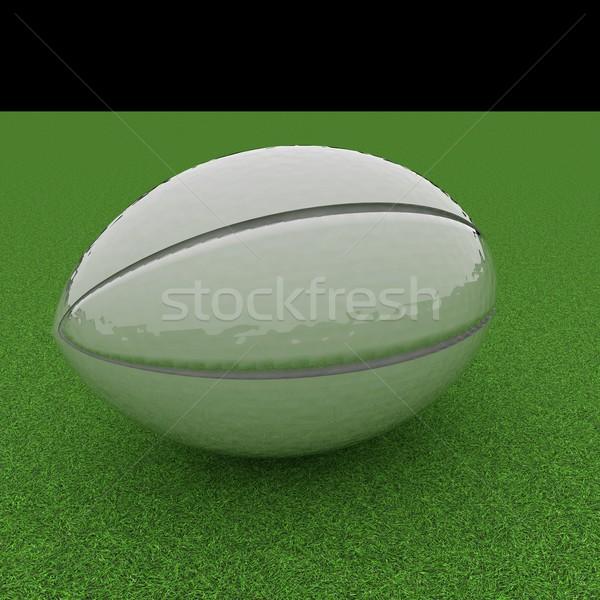 Rugby ball zielona trawa dziedzinie 3d placu obraz Zdjęcia stock © Koufax73