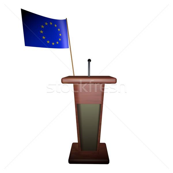 Podyum Avrupa bayrak arkasında konuşmacı Stok fotoğraf © Koufax73