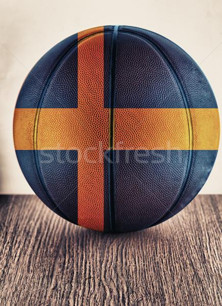 Svezia basket vecchio pelle bandiera Foto d'archivio © Koufax73