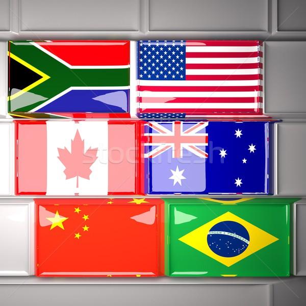 Foto stock: Teclado · bandeiras · mundo · África · do · Sul · EUA · Canadá