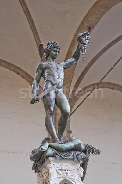 Bronzen standbeeld florence Italië gezicht Stockfoto © Koufax73