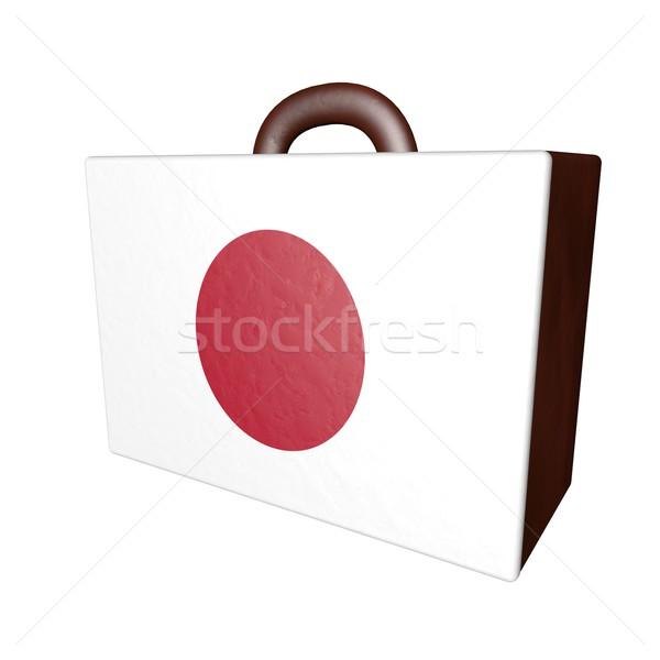 Foto stock: Japão · mala · couro · bandeira · isolado · branco