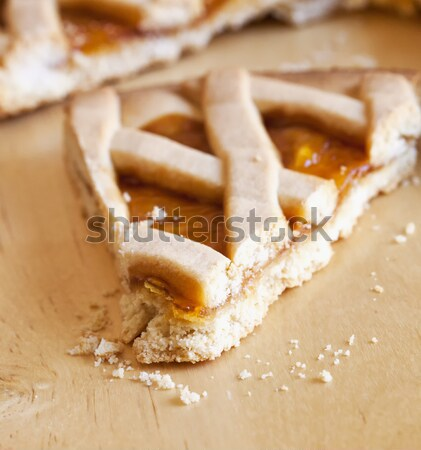 Torta szelet fa asztal sekély mező vízszintes Stock fotó © Koufax73