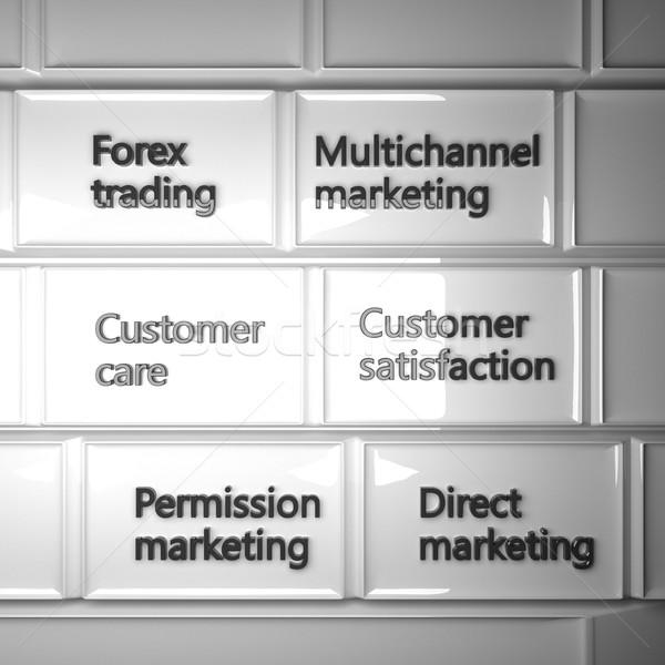 Billentyűzet marketing kifejezések 3d render tér kép Stock fotó © Koufax73