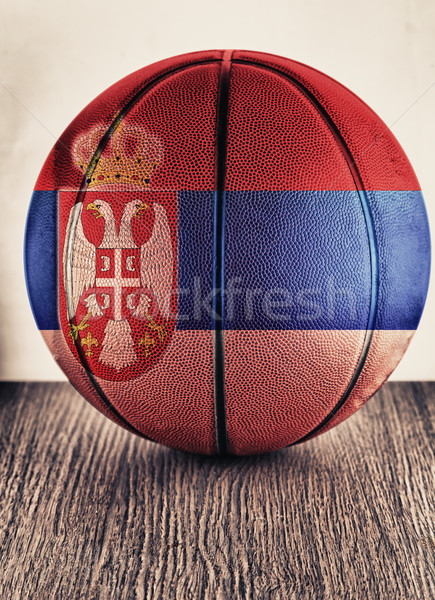 Sırbistan basketbol eski deri bayrak Stok fotoğraf © Koufax73