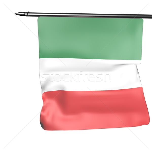 Drapeau italien isolé blanche rendu 3d design vert Photo stock © Koufax73