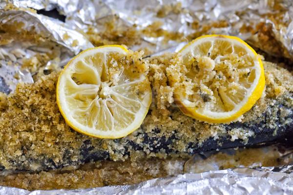 Pstrąg cytryny grillowany chleba arkusza srebrny Zdjęcia stock © Koufax73