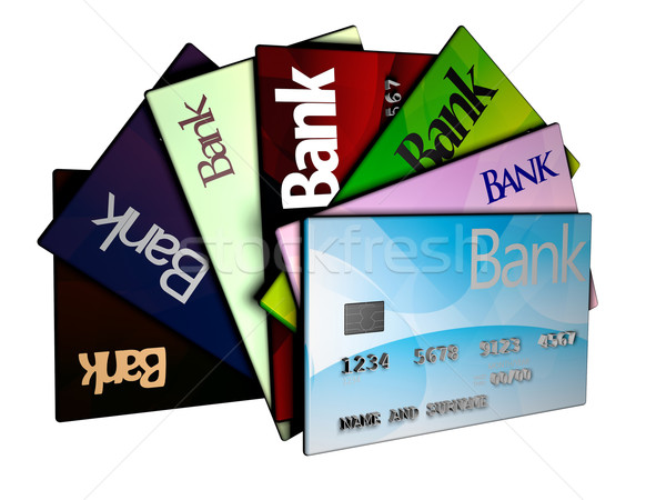 Creditcards geïsoleerd witte 3d render business achtergrond Stockfoto © Koufax73