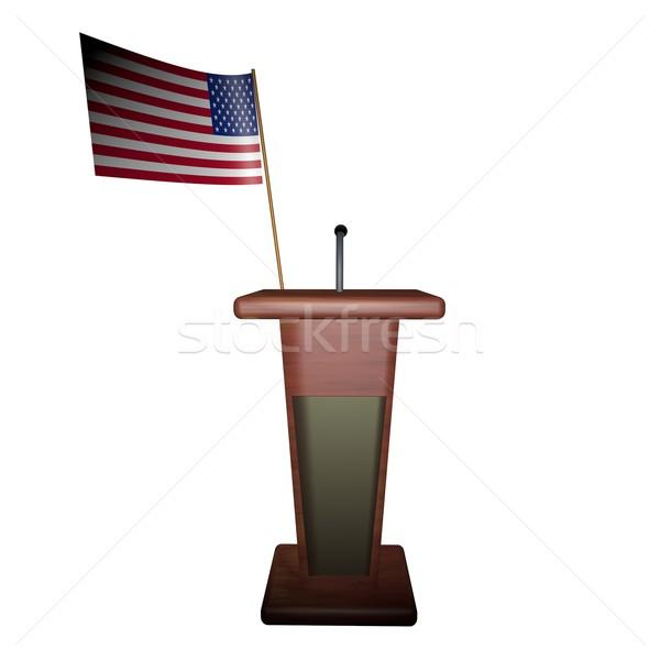 Podyum ABD bayrak arkasında konuşmacı 3d render Stok fotoğraf © Koufax73