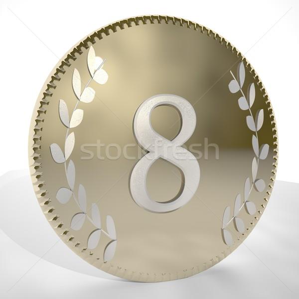 érme szám arany babér levelek 3d render Stock fotó © Koufax73
