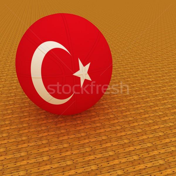 トルコ語 バスケットボール トルコ フラグ 3dのレンダリング 広場 ストックフォト © Koufax73