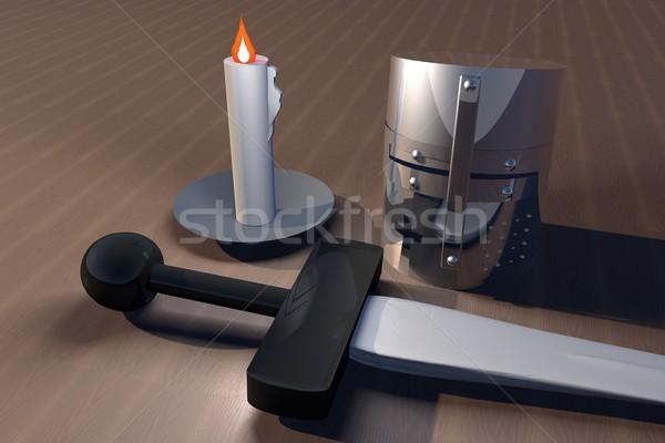 меч свечу деревянный стол 3d визуализации металл таблице Сток-фото © Koufax73
