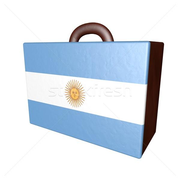 Argentina maleta cuero bandera aislado blanco Foto stock © Koufax73