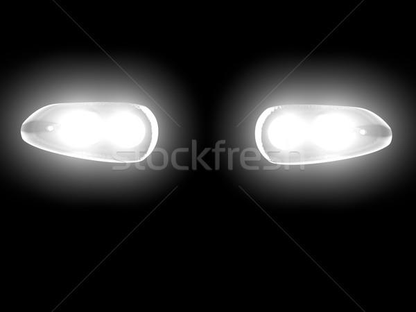 автомобилей фары темноте 3d визуализации лампы черный Сток-фото © Koufax73