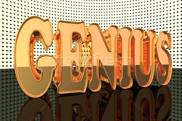 гений слово золото фары 3d визуализации студент Сток-фото © Koufax73