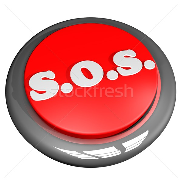 Sos botão isolado branco 3d render praça Foto stock © Koufax73