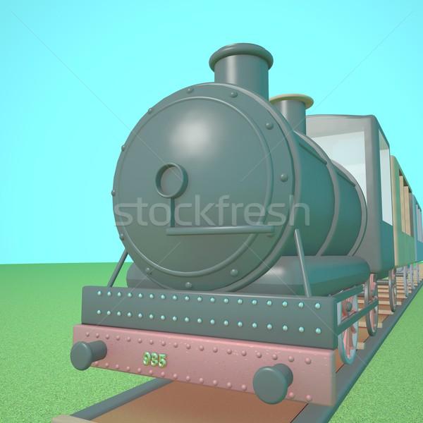 пар поезд железная дорога Blue Sky 3d визуализации квадратный Сток-фото © Koufax73